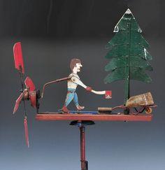 "Lumber Jack Whirligig - 24"" long mid-20th century"