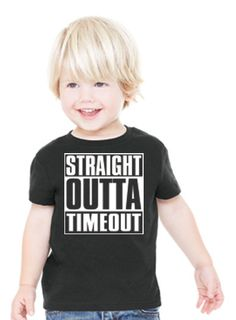 Get some good laughs taking your toddler(s) out in public with this Straight Outta Timeout shirt! Parents you can customize your own Straight Outta (your word(s) here) adult shirt, click here.