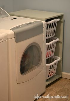 Sweet! Laundry Basket Dresser - add wheels to roll out for easy cleaning. Building instructions and measurements included.