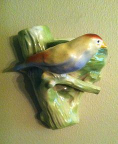 Vintage Czechoslovakian Bird with Nest Wall Pocket