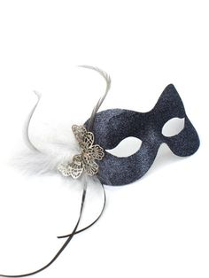 Dark Grey Pewter, Silver Butterfly Masquerade Mask