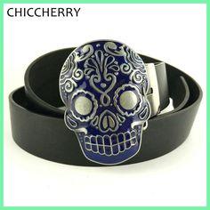 Caveira Mexicana Fivela De Cinto Western Cowboy Skull Belt Buckles Punk Rock Cool Accessories For Men Black PU Leather Belts New