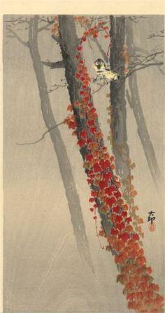 great tits on a branch / woodblock print / ohara koson / circa 1910