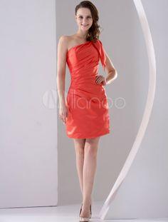 Satin Einschulter-Kleid für Hochzeit mit Falten in Orange, knielang - Milanoo.com
