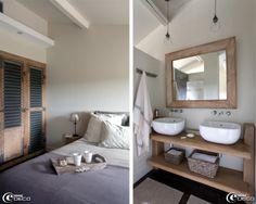 Une chambre de la maison d'hôtes de charme 'La Bergerie de Nano', placard confectionné à partir de vieux volets à persiennes, linge de lit en lin 'Society' chez 'Maison Hand' à Lyon et tête de lit 'AM.PM'