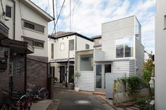 """Unemori Architects creates small blocky house on """"tiny plot"""" in Tokyo Architect House, Architect Design, House Tokyo, Architectural Materials, Compact House, Small Terrace, Steel Panels, Japanese Architecture, Ceiling Height"""
