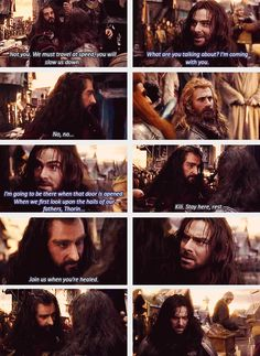 """There is sooo much more damage occurring here than you think. Dwarves are first and foremost family first. Thorin making Kili stay back, you can see how DEVASTATED he is! """"What did I do, why are you punishing me?"""" Fili sees this, which is why he looks angry and defies his unlce. Kili is so crushed by this rejection he cant fight the infection any more and collapses. <-- THIS."""