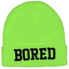 Bored Neon Beanie ❤ liked on Polyvore featuring accessories, hats, beanies, neon beanie, beanie hats, neon hats, neon beanie hats and beanie cap hat