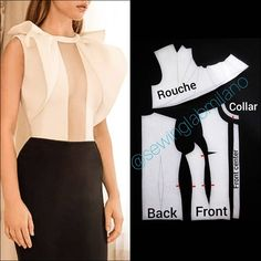 ENG➡️let's draft the pattern of a blouse perfect for new year's eve. start from a basic block with darts and move the waist one closer… Bodice Pattern, Top Pattern, Collar Pattern, Easy Sewing Patterns, Clothing Patterns, Dress Patterns, Sewing Clothes, Diy Clothes, Sewing Collars