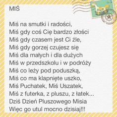 Dzień Pluszowego Misia – 25 listopada 2016 r. Teddy Bear Day, Polish Language, Music Education, Speech Therapy, Classroom Decor, Kids And Parenting, Kids Learning, Book Worms, Psychology
