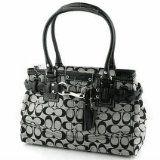 Coach Hamptons Signature Carryall Bag Purse Tote 15665 Black White
