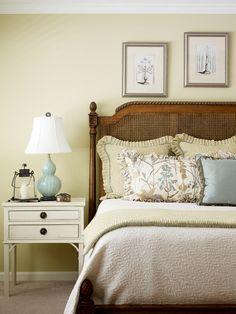 Master bedroom. Bedside table. Green bedroom. Valerie Garrett Interior Design. Macon, GA.