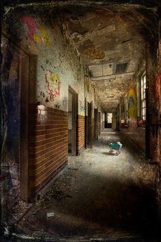 Corridor in the children's wards at West Park abandoned Asylum with texture layer applied