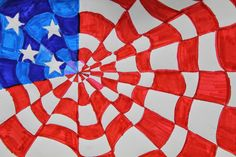 Kim & Karen: 2 Soul Sisters: Red, White and Blue Op Art, Maclay Middle School Art