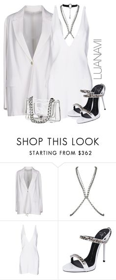 """""""Dreamin about you"""" by luanavii ❤ liked on Polyvore featuring Acne Studios, Fannie Schiavoni, Christopher Kane, Giuseppe Zanotti, white, Chanel, GiuseppeZanotti, chain and FannieSchiavoni"""