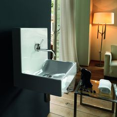 """View the WS Bath Collections Cento 3540 15-7/10"""" Ceramic Wall Mounted Sink with 1 Drilled Hole at FaucetDirect.com."""