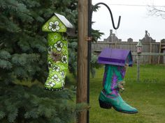 bird houses | the cow boy boot bird house are made from old cow boy boots they are ...
