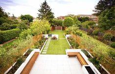 Narrow Garden, Big Garden, Family Garden, Garden Ideas Long, Garden Design Plans, Modern Garden Design, Landscape Design, Modern Design, Back Gardens