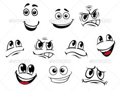 Cartoon Faces Set #GraphicRiver Cartoon faces set with different emotions for comics. Editable EPS8 and JPEG (can edit in any vector and graphic editor) files are included SPORTS MASCOTS MEDICINE FOOD LABELS WEDDING DESIGN ELEMENTS ...