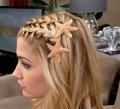 Waterfall braided bangs with starfish hair clips