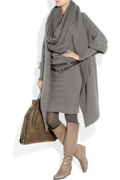 Lanvin concealed-wedge boots and gorgeous shawl sweater...grey and brown
