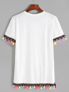 White Contrast Crochet Fringe Trim T-shirt