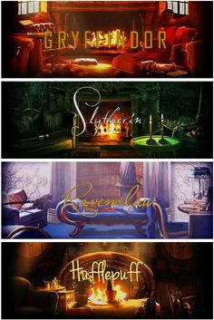 Harry Potter Hogwarts common rooms I think the Gryffindor one looks cozy like my family room but Ravenclaw one looks like my room bright and open.