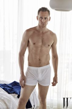 'Gorgeous man!' Buff body: Tom Hiddleston stripped down to his underwear for a sexy new shoot for W Magazine