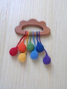 wood teether  Rainbow rain от HappyWomanGifts на Etsy