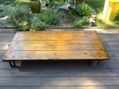 Oak platform Cart, great coffee table