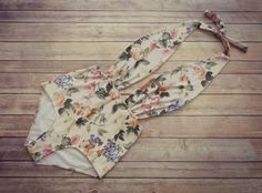 Beautiful Swimsuit - Vintage Style High Waisted Pin-up Swimming Costume Swimwear - Floral Print Bathing Suit - Unique & So Cute!
