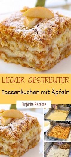 Zzutaten 1 cup soft wheat semolina 1 cup of flour 1 cup of powdered sugar 1 pck. Apple Recipes, Baking Recipes, Healthy Dessert Recipes, Powdered Sugar, Mole, Tray Bakes, Cupcakes, Food And Drink, Tasty