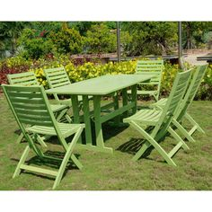 Add a splash of color and a touch of comfortable style to your outdoor furnishings with this dining set. This dining set is built with durable, long-lasting acacia hardwood and is available in your choice of two beautiful, colorful wood stains.