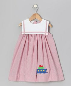 Take a look at this Red Stripe Boat Sailor Float Dress - Infant & Toddler by Betti Terrell on #zulily today!