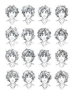 how to draw curly hair male - Szukaj w Google