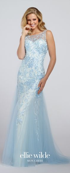 Prom Dresses 2017 - Ellie Wilde for Mon Cheri - ice blue embroidered tulle prom dress - Style No. EW117073