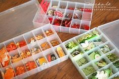Keep your buttons sorted & organized using these plastic containers.
