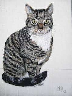 I ❤ embroidery . Cat embroidery, worked in long and short stitch. ~By Margaret Dier Embroidery Cat Embroidery, Silk Ribbon Embroidery, Hand Embroidery Patterns, Cross Stitch Embroidery, Machine Embroidery, Embroidery Designs, Thread Painting, Thread Art, Long And Short Stitch