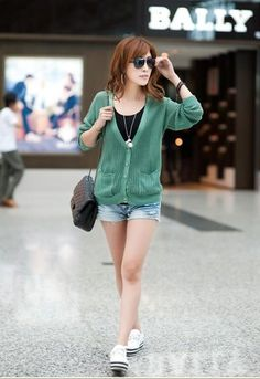 Green Semi Transparent Cardigan With Deep V-Neck And Pockets