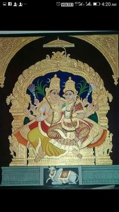 Mysore Painting, Tanjore Painting, Shiva Linga, Hindu Temple, Painted Chairs, Traditional Paintings, Art World, Art Sketches, Embroidery