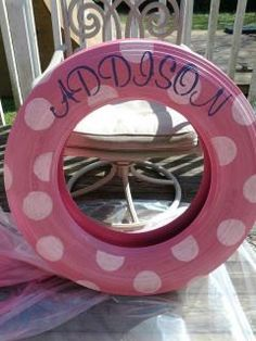 do you have a tire not a belly tire but a tire, repurposing upcycling, A cute girly tire swing personalized with a name