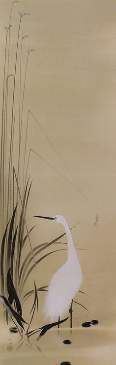 White Heron in Reeds Wall Hanging Japanese Scroll painting by Tokuoka Shinsen (1896-1972).