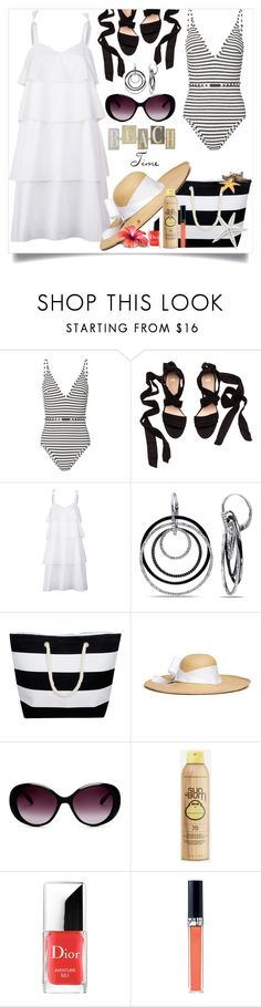 """""""Beach Time"""" by spica-caracterielle ❤ liked on Polyvore featuring Zimmermann, Kaelen, Ice, Sensi Studio, Moschino, Sun Bum and Christian Dior"""