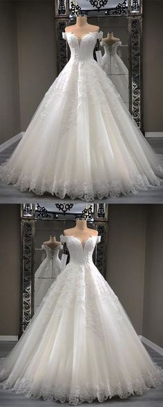 Vintage Lace Appliques Sweetheart Tulle Ball Gowns Wedding Dresses Off The Shoulder #weddingdress
