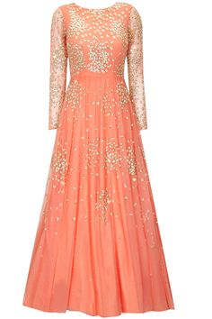 Coral peach shimmer anarkali gown available only at Pernia's Pop-Up Shop.