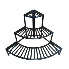 Tuck this tiered plant stand into the corner of your patio to get plenty of room to display your plants. Create a multilevel plant and flower display in just a little space. The stand's black coated finish won't take away from your plants' beauty.
