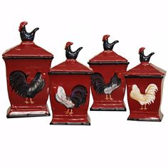Square Rooster Canister Set Country French Hand-Painted 4-Piece Kitchen Counter in Home & Garden, Kitchen, Dining & Bar, Kitchen Storage & Organization | eBay