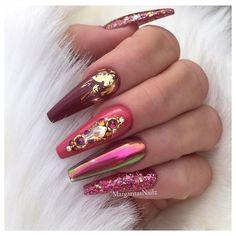 49 Colorful decorated nail designs Page 3 of 49 - Nail . Coffin Nails Glitter, Glam Nails, Foil Nails, Fancy Nails, Bling Nails, Beauty Nails, Cute Nails, Sparkle Nails, Fabulous Nails