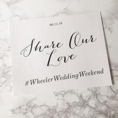 Custom Wedding Hashtag Wedding Signs by TheChicShopCo on Etsy