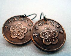 Coin Jewelry Vintage COPPER Cherry Blossom COIN earrings - Taiwan - copper patina - sterling silver earwires
